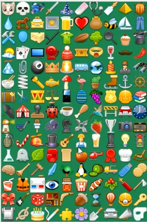 screenshot with various icons