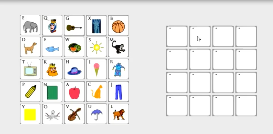 example of a 5 x 5 grid with icons and a blank 4 x 4 grid