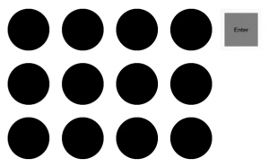grid of black dots with an Enter button