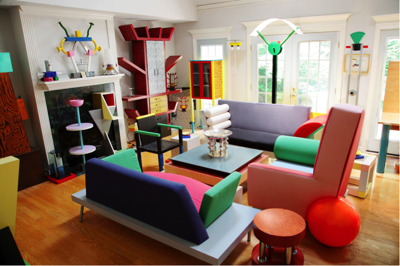photo of a room with colorful furniture and decorations