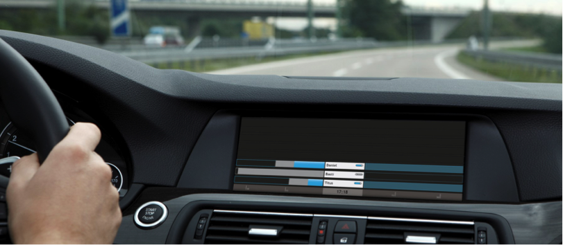 photo of a person driving and the Together Alone interface