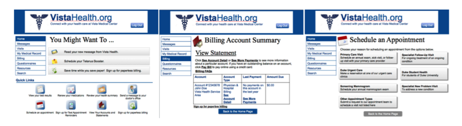 three screenshots with the following titles: you might want to, billing account summary, and schedule an appointment