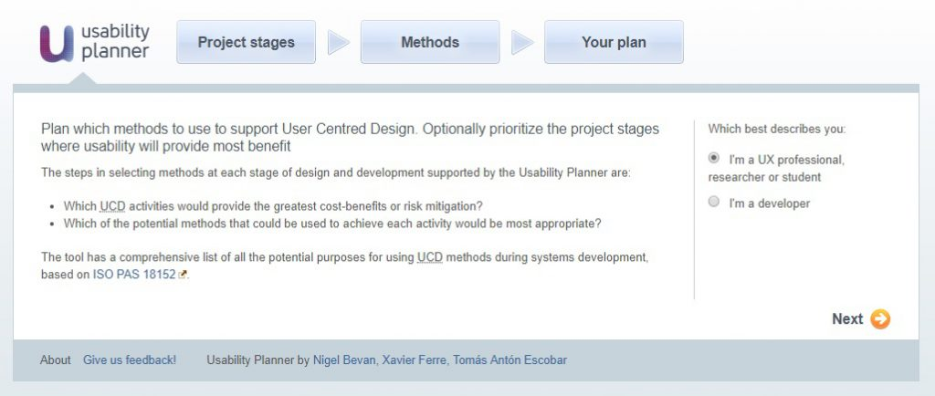 """Screenshot providing the introduction to the site: """"Plan which methods to use to support User Centered Design..."""""""
