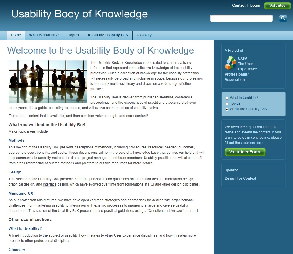 Screenshot of the homepage describing what you'll find in the Usability BoK website. The major topic areas are methods, design, managing UX, glossary, and defining usability.