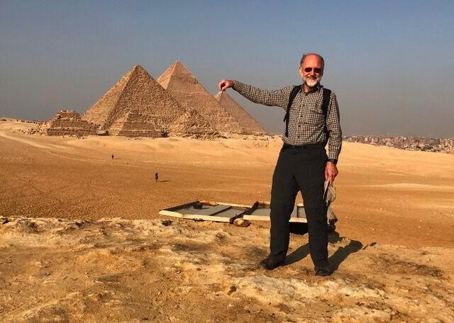 Photo of Nigel at Egypt's pyramids.