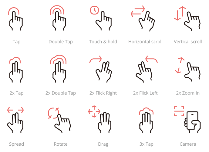 Group of hands representing different motions, for example, tap, drag, zoom in.