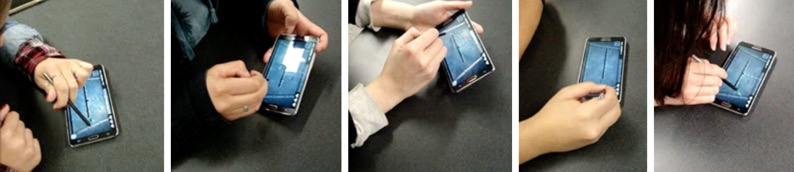 Group of five photos showing the device and someone using it.