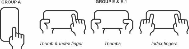 Line drawings of hands and device.