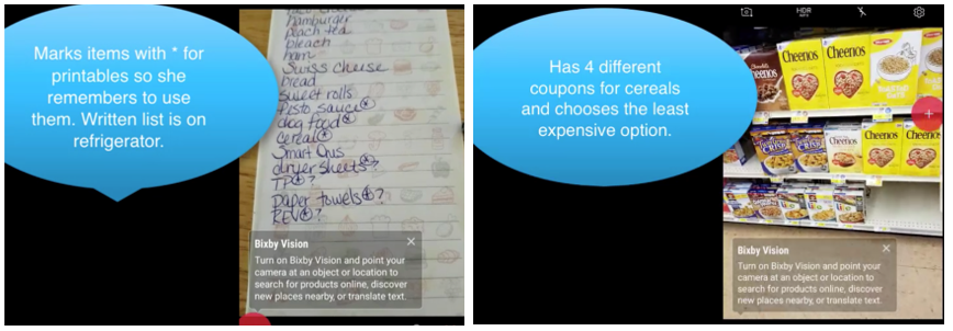 Two photos with information bubbles: one with a handwritten grocery list, the other is of the participant's view of the cereal aisle.