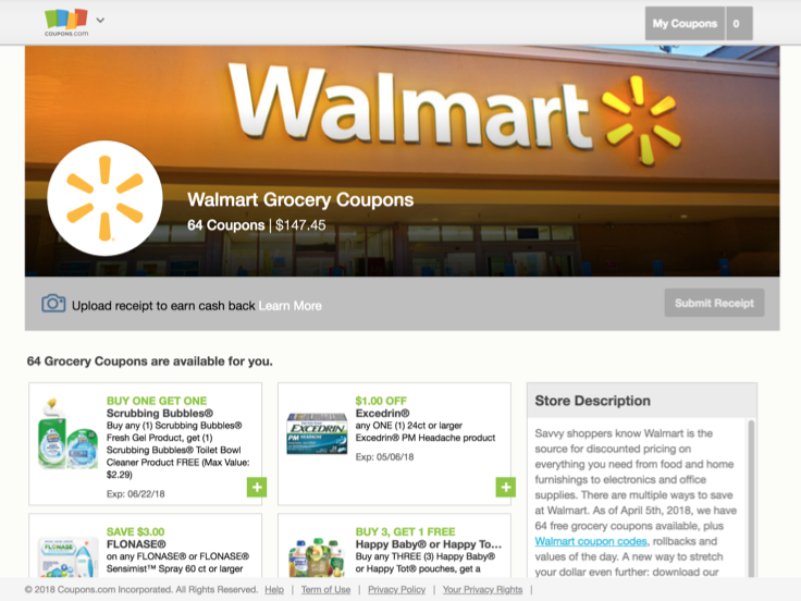 Screenshot of Walmart grocery coupons that are available from Coupons.com.