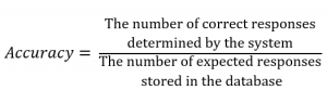 Formula: Accuracy equals the number of correct responses determined by the system divided by the number of expected responses stored in the database.