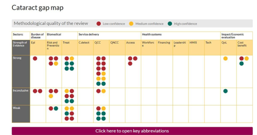 Screen shot of Sightsavers cataract gap map. The map is a matrix with interventions plotted against outcomes. In the map, you can see bubbles coloured in red, yellow and green, representing high, medium and low levels of confidence in review conclusions.