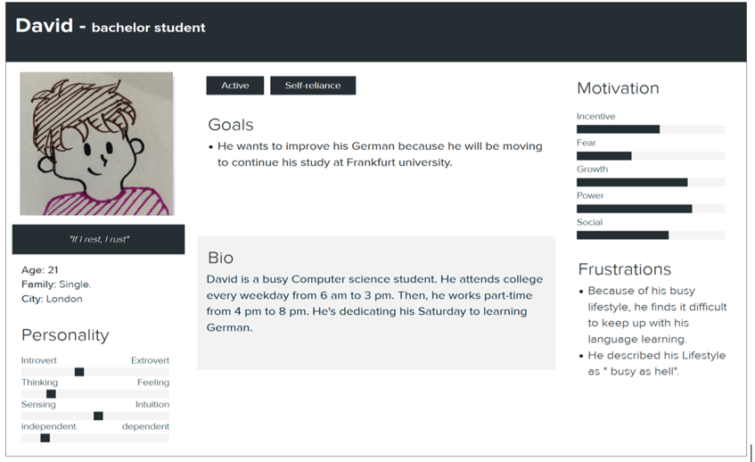 """Screenshot of a student profile of """"David,"""" including infomration such as his bio and goals of improving his German language skills."""