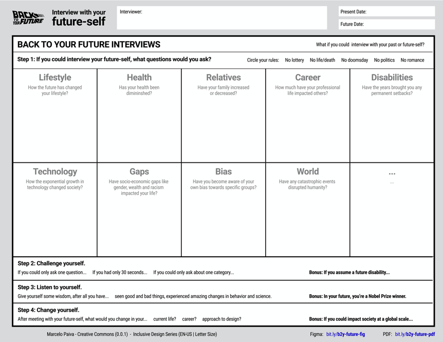 A worksheet separated in categories such as lifesyle, health, bias, world events.