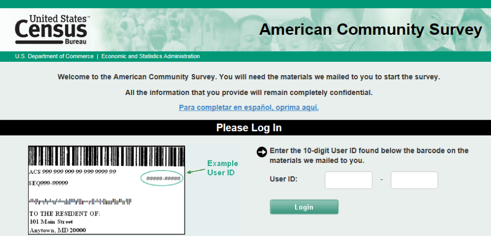 Login page for the American Community Survey showing the example image of where to find the access code and the fields where to enter that code.