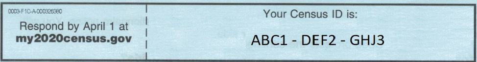 Example Census ID which was 12-character alphanumeric code.